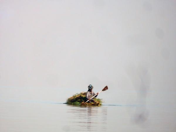 Petit bateau de roseaux sur le lac